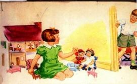 "Dick catches Jane with her dolls in compromising positions.   ""I'm telling mother!"""