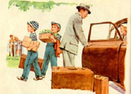 Father uses child labor to unload the groceries.